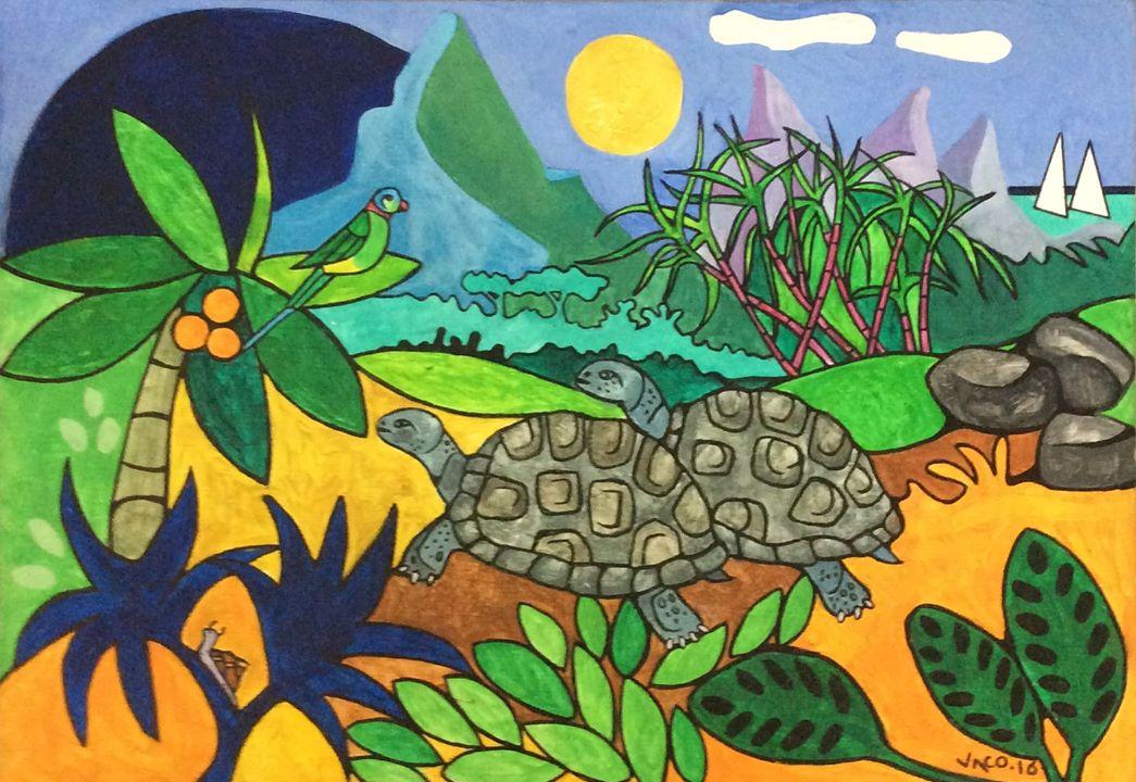 """""""Deux tortues d'Aldabra"""" offert par Casela à Singapour"""